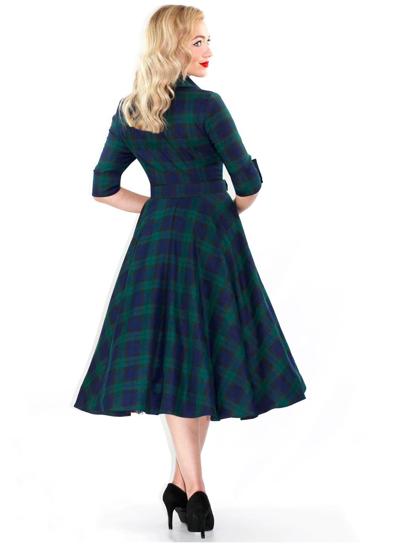 'Way Out West' Black Watch Tartan 50s Style Swing Dress ...
