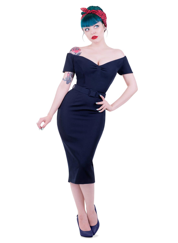 'Rhonda's Revenge' Navy Vintage 50s Style Pencil Dress ...